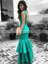 Trumpet/Mermaid V-neck Satin Floor-length Tiered Prom Dresses #Favs020105153