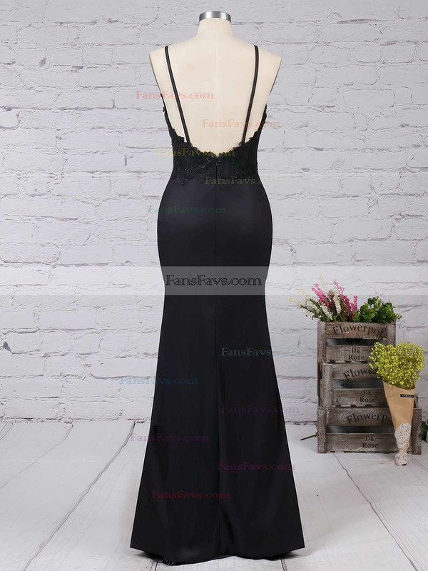 Sheath/Column V-neck Jersey Floor-length Appliques Lace Prom Dresses #Favs020103574