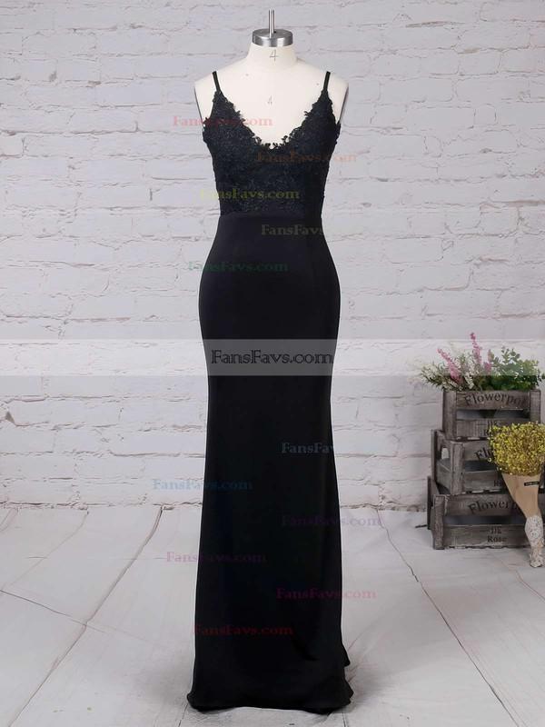 Sheath/Column V-neck Floor-length Silk-like Satin Prom Dresses with Appliques Lace #Favs020103574