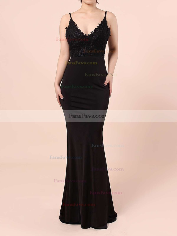 Sheath/Column V-neck Floor-length Silk-like Satin Prom Dresses with Appliques Lace #Favs020103574
