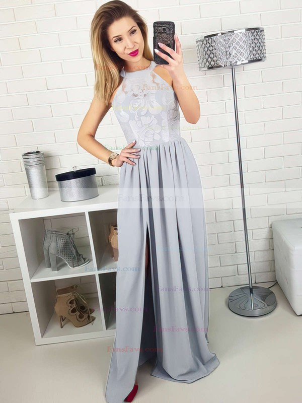 A-line Scoop Neck Lace Silk-like Satin Floor-length Split Front Prom Dresses #Favs020105172