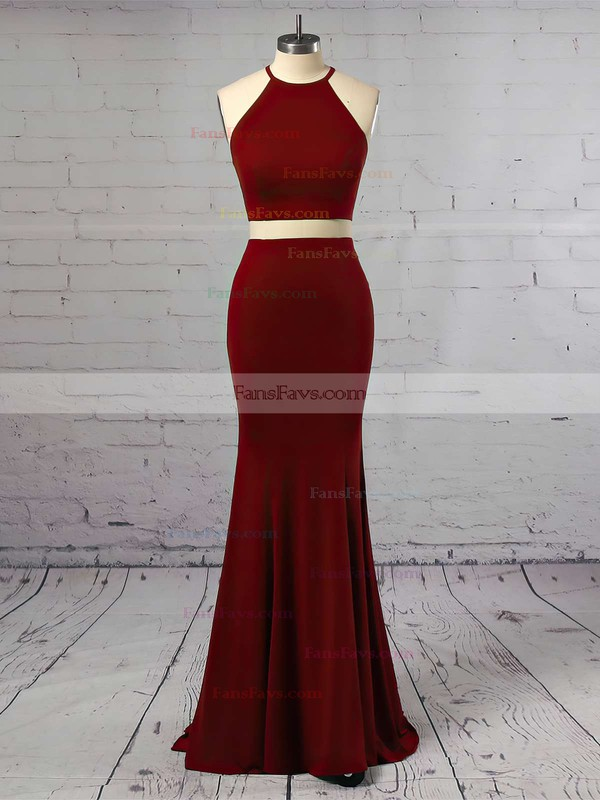 Sheath/Column Scoop Neck Jersey Floor-length Prom Dresses #Favs020105174