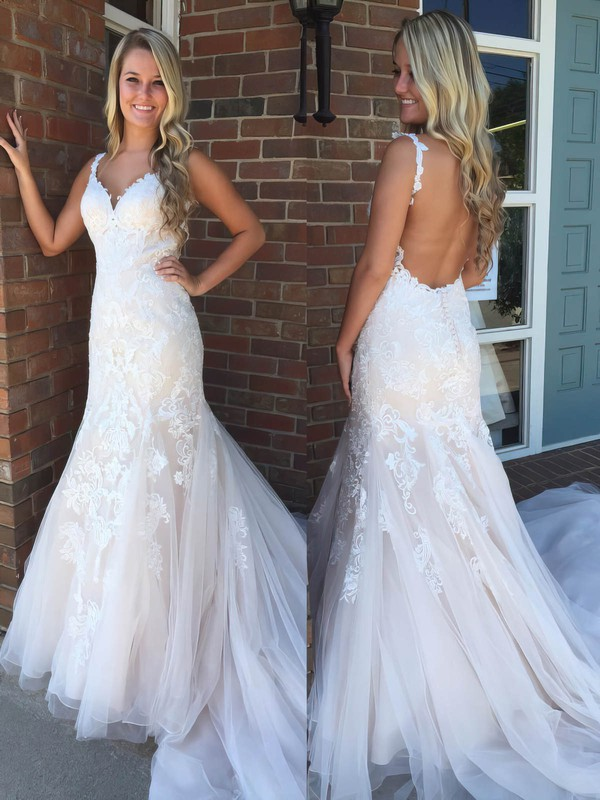 Trumpet/Mermaid V-neck Sweep Train Tulle Prom Dresses with Appliques Lace #Favs020105177