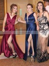 A-line V-neck Floor-length Silk-like Satin Prom Dresses with Split Front #Favs020105208
