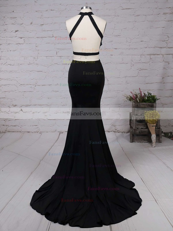Sheath/Column High Neck Sweep Train Silk-like Satin Prom Dresses with Appliques Lace Split Front #Favs020103577
