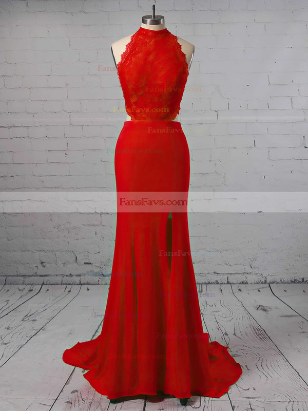 Sheath/Column High Neck Jersey Sweep Train Appliques Lace Prom Dresses #Favs020103577