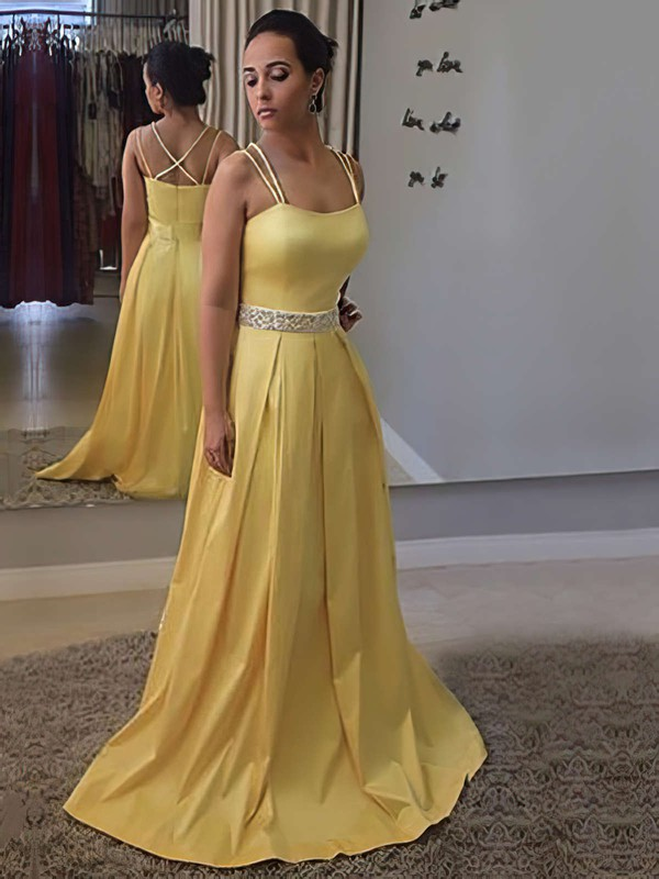 A-line Square Neckline Sweep Train Satin Prom Dresses with Beading Sashes #Favs020105212