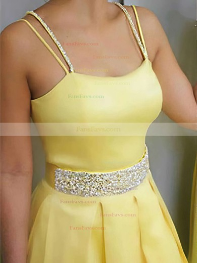 A-line Square Neckline Satin Sweep Train Beading Prom Dresses #Favs020105212