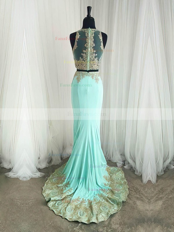 Trumpet/Mermaid Scoop Neck Sweep Train Silk-like Satin Prom Dresses with Appliques Lace #Favs020105224