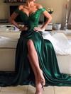 Sheath/Column Off-the-shoulder Silk-like Satin Sweep Train Appliques Lace Prom Dresses #Favs020103584