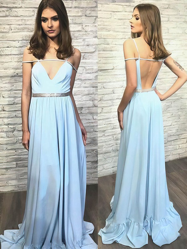 A-line V-neck Sweep Train Chiffon Prom Dresses with Sashes #Favs020105240