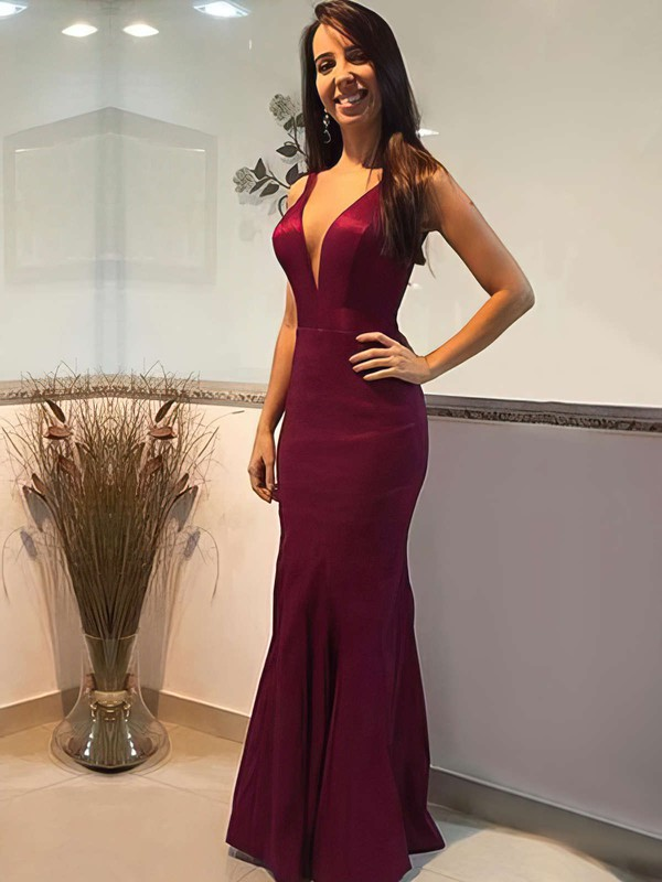 Trumpet/Mermaid V-neck Floor-length Silk-like Satin Prom Dresses #Favs020105253