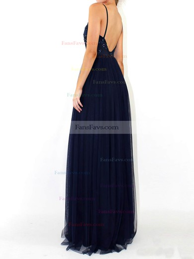 A-line V-neck Tulle Floor-length Sequins Prom Dresses #Favs020105254