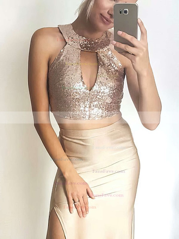 Sheath/Column Scoop Neck Sequined Jersey Ankle-length Split Front Prom Dresses #Favs020105256