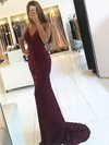 Trumpet/Mermaid V-neck Sweep Train Lace Prom Dresses with Sequins #Favs020105261