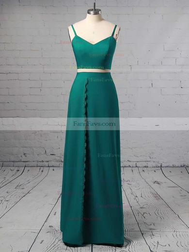 A-line V-neck Silk-like Satin Floor-length Split Front Prom Dresses #Favs020105266