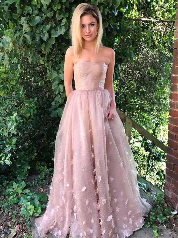 A-line Strapless Tulle Sweep Train Flower(s) Prom Dresses #Favs020105270