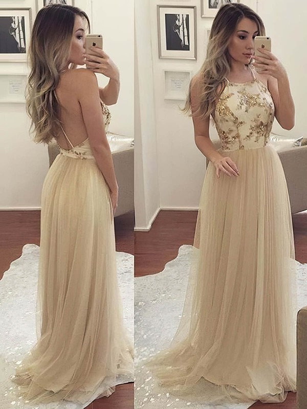 5ef2647aa98 A-line Scoop Neck Sweep Train Tulle Prom Dresses with Appliques Lace  Sequins  Favs020105275