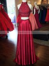 A-line High Neck Sweep Train Silk-like Satin Prom Dresses with Beading Split Front #Favs020103602