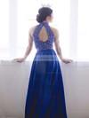 A-line High Neck Silk-like Satin Sweep Train Beading Prom Dresses #Favs020103602