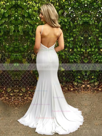 Trumpet/Mermaid V-neck Sweep Train Jersey Prom Dresses #Favs020105287