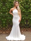 Trumpet/Mermaid V-neck Jersey Sweep Train Prom Dresses #Favs020105287