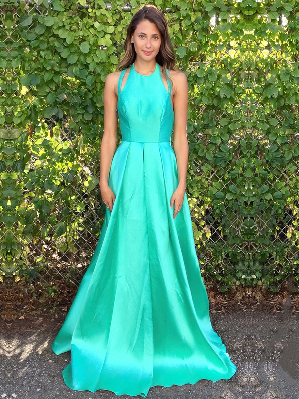 A-line Scoop Neck Satin Floor-length Split Front Prom Dresses #Favs020105293