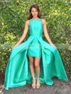 A-line Scoop Neck Floor-length Satin Prom Dresses with Split Front #Favs020105293