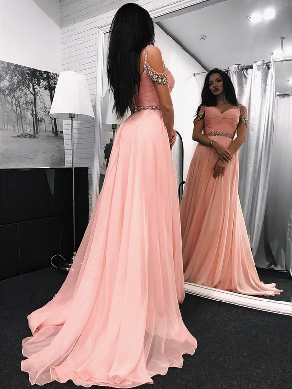 A-line V-neck Sweep Train Chiffon Prom Dresses with Beading #Favs020105295