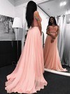 A-line V-neck Chiffon Sweep Train Beading Prom Dresses #Favs020105295