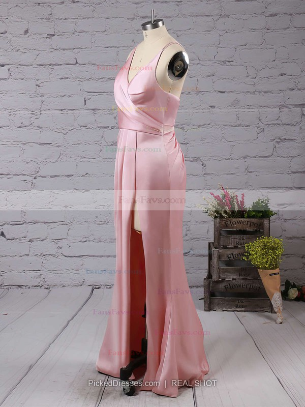 Sheath/Column V-neck Silk-like Satin Floor-length Split Front Prom Dresses #Favs020103662