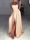 A-line V-neck Silk-like Satin Sweep Train Appliques Lace Prom Dresses #Favs020105296