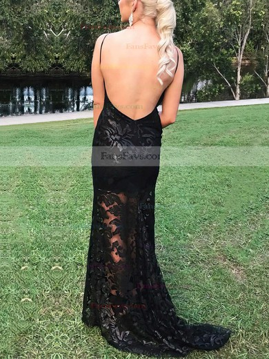 Sheath/Column Scoop Neck Sweep Train Lace Prom Dresses #Favs020105310