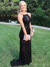 Sheath/Column Scoop Neck Lace Sweep Train Prom Dresses #Favs020105310