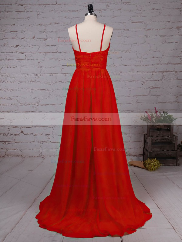 A-line Scoop Neck Sweep Train Lace Chiffon Prom Dresses with Split Front #Favs020105340