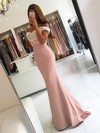 Trumpet/Mermaid Off-the-shoulder Sweep Train Silk-like Satin Prom Dresses with Appliques Lace Sashes #Favs020103721