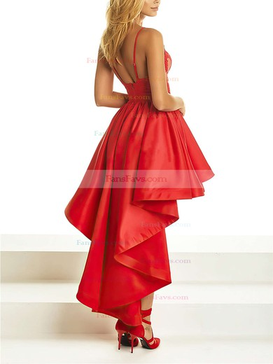 A-line V-neck Satin Asymmetrical Appliques Lace Prom Dresses #Favs020105369