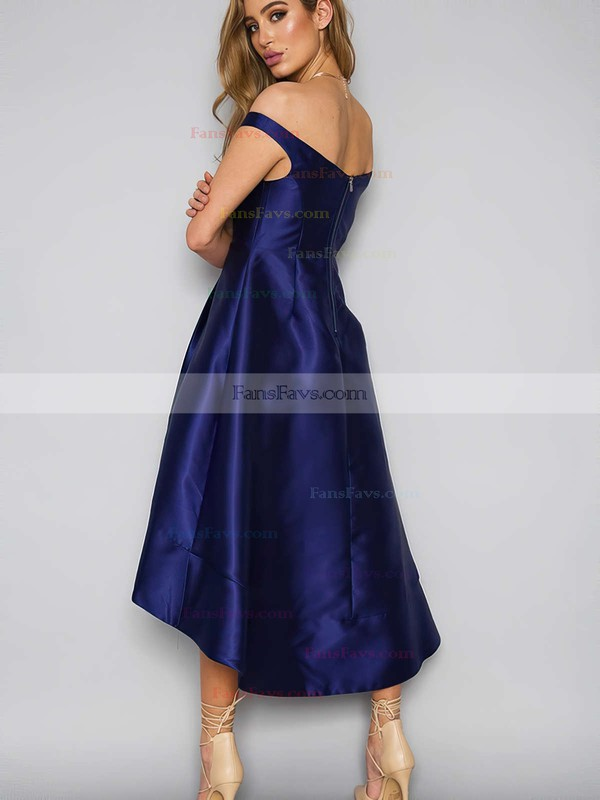 A-line Off-the-shoulder Satin Asymmetrical Pockets Prom Dresses #Favs020105378