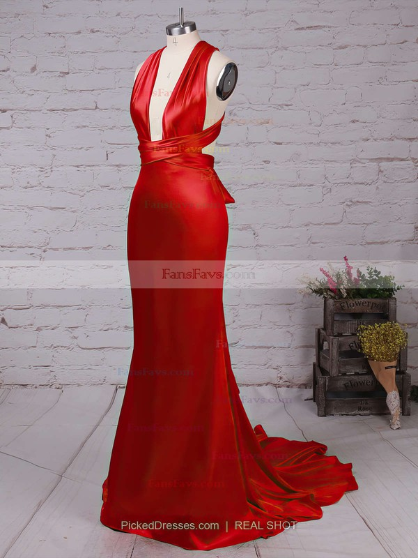 Trumpet/Mermaid V-neck Silk-like Satin Court Train Prom Dresses #Favs020103723