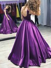 Ball Gown Scoop Neck Satin Floor-length Prom Dresses #Favs020105408