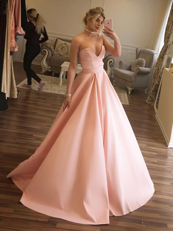 Ball Gown V-neck Floor-length Satin Prom Dresses with Sashes #Favs020105412