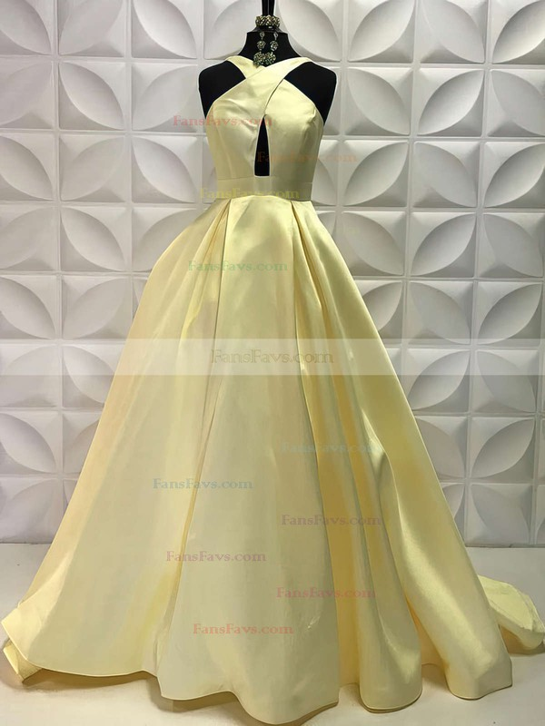 Ball Gown V-neck Sweep Train Satin Prom Dresses #Favs020105419