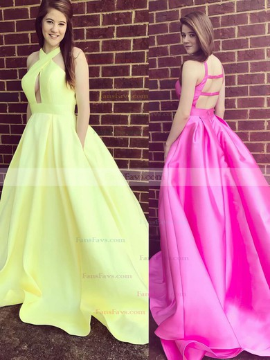 Ball Gown V-neck Satin Sweep Train Pockets Prom Dresses #Favs020105419