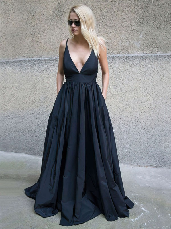Ball Gown V-neck Floor-length Satin Prom Dresses #Favs020105455