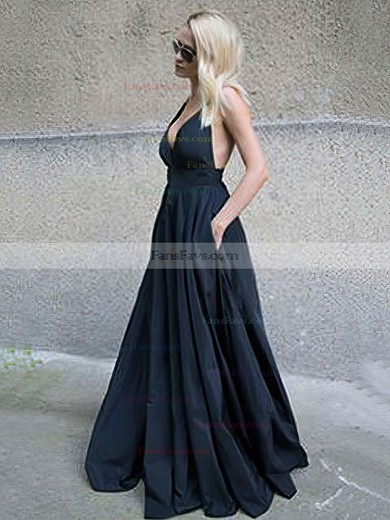 Ball Gown V-neck Satin Floor-length Pockets Prom Dresses #Favs020105455