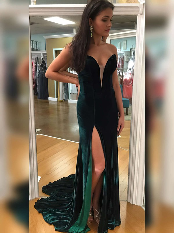 Trumpet/Mermaid V-neck Sweep Train Velvet Prom Dresses with Split Front #Favs020105466