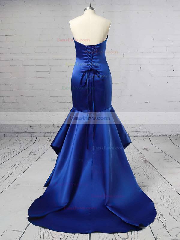 Trumpet/Mermaid Sweetheart Satin Sweep Train Cascading Ruffles Prom Dresses #Favs020105471