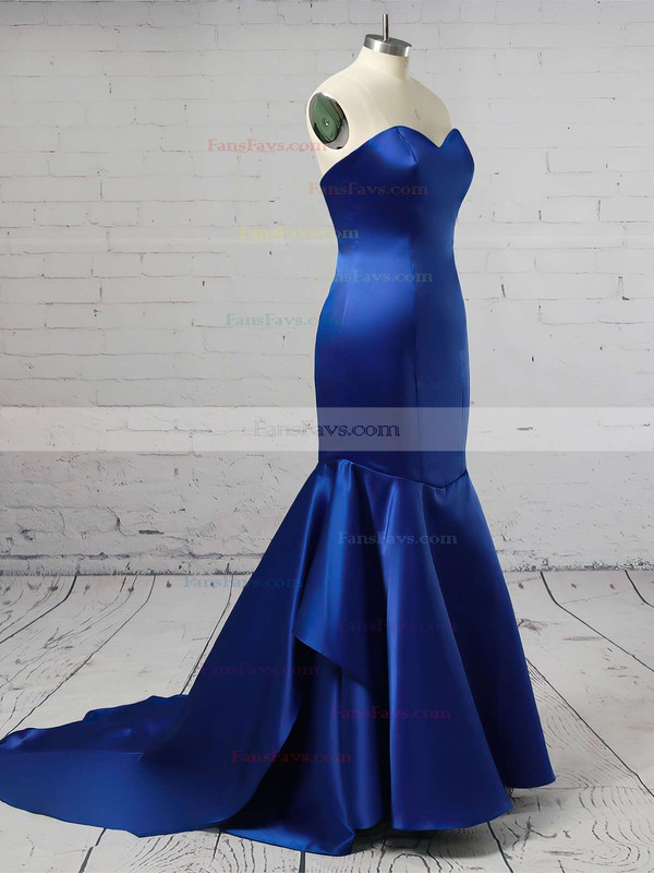 Trumpet/Mermaid Sweetheart Sweep Train Satin Prom Dresses with Cascading Ruffle #Favs020105471