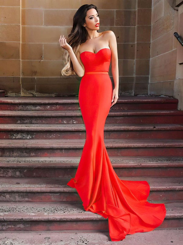 Trumpet/Mermaid Sweetheart Silk-like Satin Sweep Train Sashes / Ribbons Prom Dresses #Favs020105479