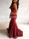 Trumpet/Mermaid V-neck Sweep Train Silk-like Satin Prom Dresses #Favs020105484